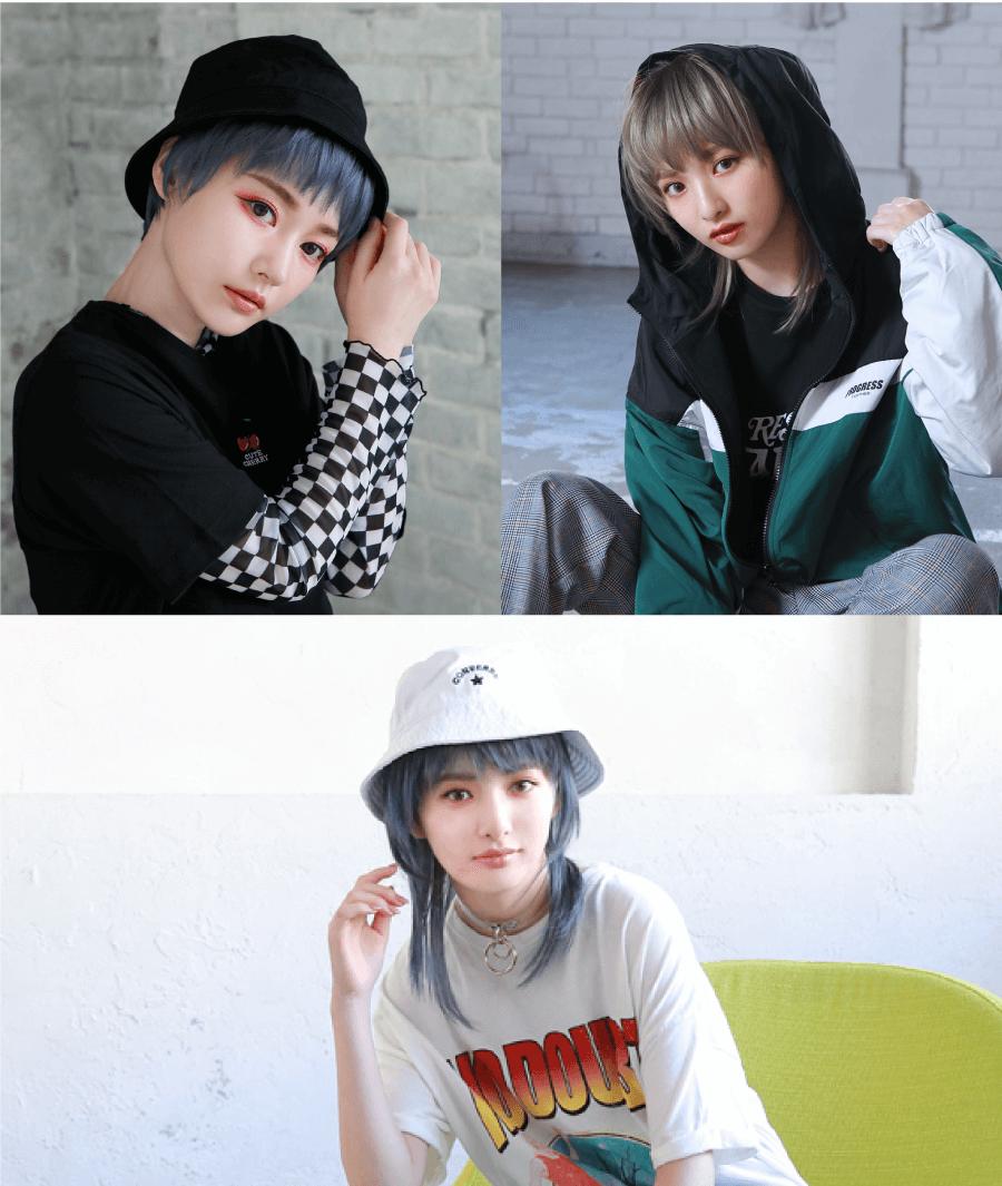 3つの帽子&フードのアレンジスタイル着用画像