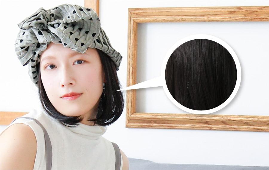 インナー帽子ウィッグのファイバーのアップ画像