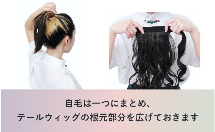 自毛は1つにまとめ、テールをウィッグウィッグの根元部分を広げておきます