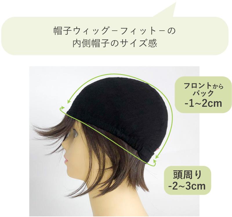 帽子ウィッグフィットの内側帽子のサイズ感